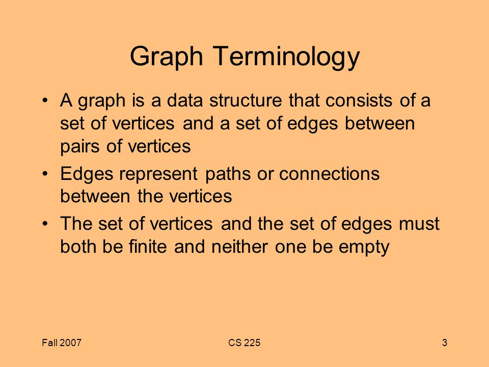 Fall 2007CS 2253 Graph Terminology A graph is a data structure that consists of a set of vertices and a set of edges between pairs of vertices Edges represent paths or connections between the vertices The set of vertices and the set of edges must both be finite and neither one be empty