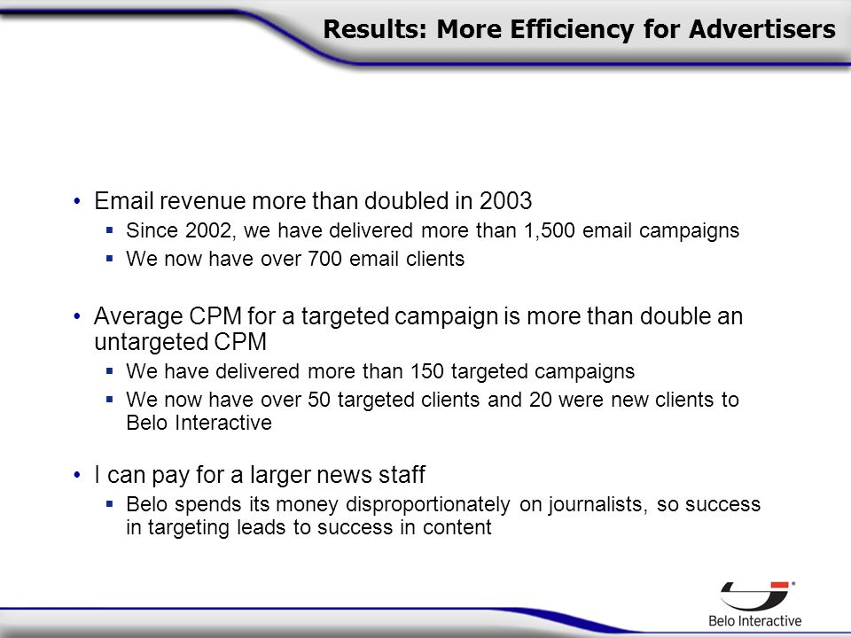 Results: More Efficiency for Advertisers  revenue more than doubled in 2003  Since 2002, we have delivered more than 1,500  campaigns  We now have over 700  clients Average CPM for a targeted campaign is more than double an untargeted CPM  We have delivered more than 150 targeted campaigns  We now have over 50 targeted clients and 20 were new clients to Belo Interactive I can pay for a larger news staff  Belo spends its money disproportionately on journalists, so success in targeting leads to success in content