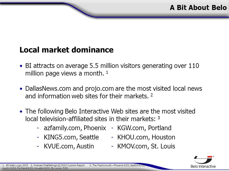 A Bit About Belo Local market dominance BI attracts on average 5.5 million visitors generating over 110 million page views a month.