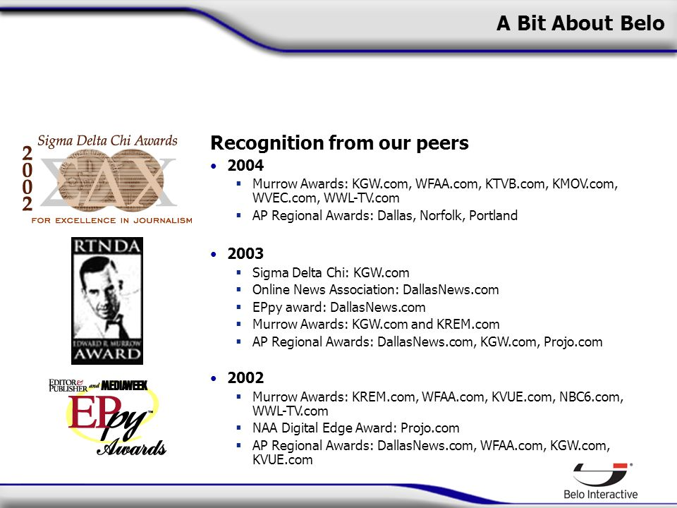 A Bit About Belo Recognition from our peers 2004  Murrow Awards: KGW.com, WFAA.com, KTVB.com, KMOV.com, WVEC.com, WWL-TV.com  AP Regional Awards: Dallas, Norfolk, Portland 2003  Sigma Delta Chi: KGW.com  Online News Association: DallasNews.com  EPpy award: DallasNews.com  Murrow Awards: KGW.com and KREM.com  AP Regional Awards: DallasNews.com, KGW.com, Projo.com 2002  Murrow Awards: KREM.com, WFAA.com, KVUE.com, NBC6.com, WWL-TV.com  NAA Digital Edge Award: Projo.com  AP Regional Awards: DallasNews.com, WFAA.com, KGW.com, KVUE.com