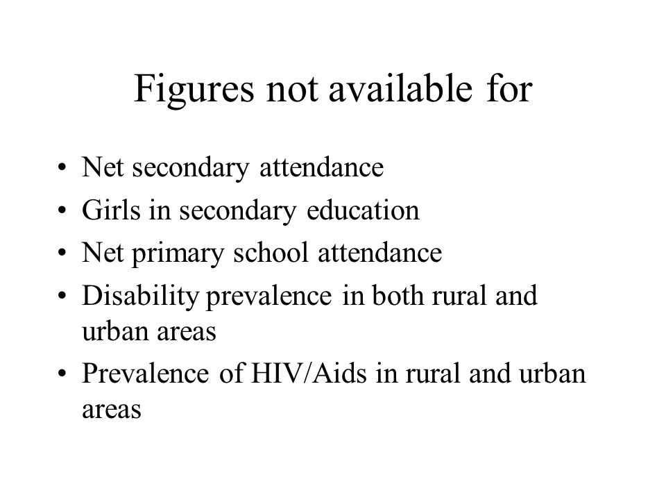 Figures not available for Net secondary attendance Girls in secondary education Net primary school attendance Disability prevalence in both rural and urban areas Prevalence of HIV/Aids in rural and urban areas