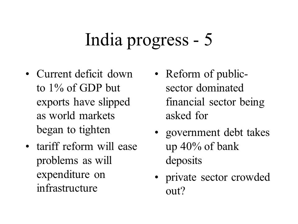 India progress - 5 Current deficit down to 1% of GDP but exports have slipped as world markets began to tighten tariff reform will ease problems as will expenditure on infrastructure Reform of public- sector dominated financial sector being asked for government debt takes up 40% of bank deposits private sector crowded out