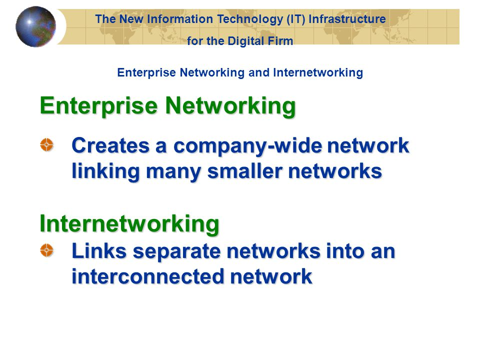 The New Information Technology (IT) Infrastructure for the Digital Firm Enterprise Networking Creates a company-wide network linking many smaller networks Internetworking Links separate networks into an interconnected network Enterprise Networking and Internetworking
