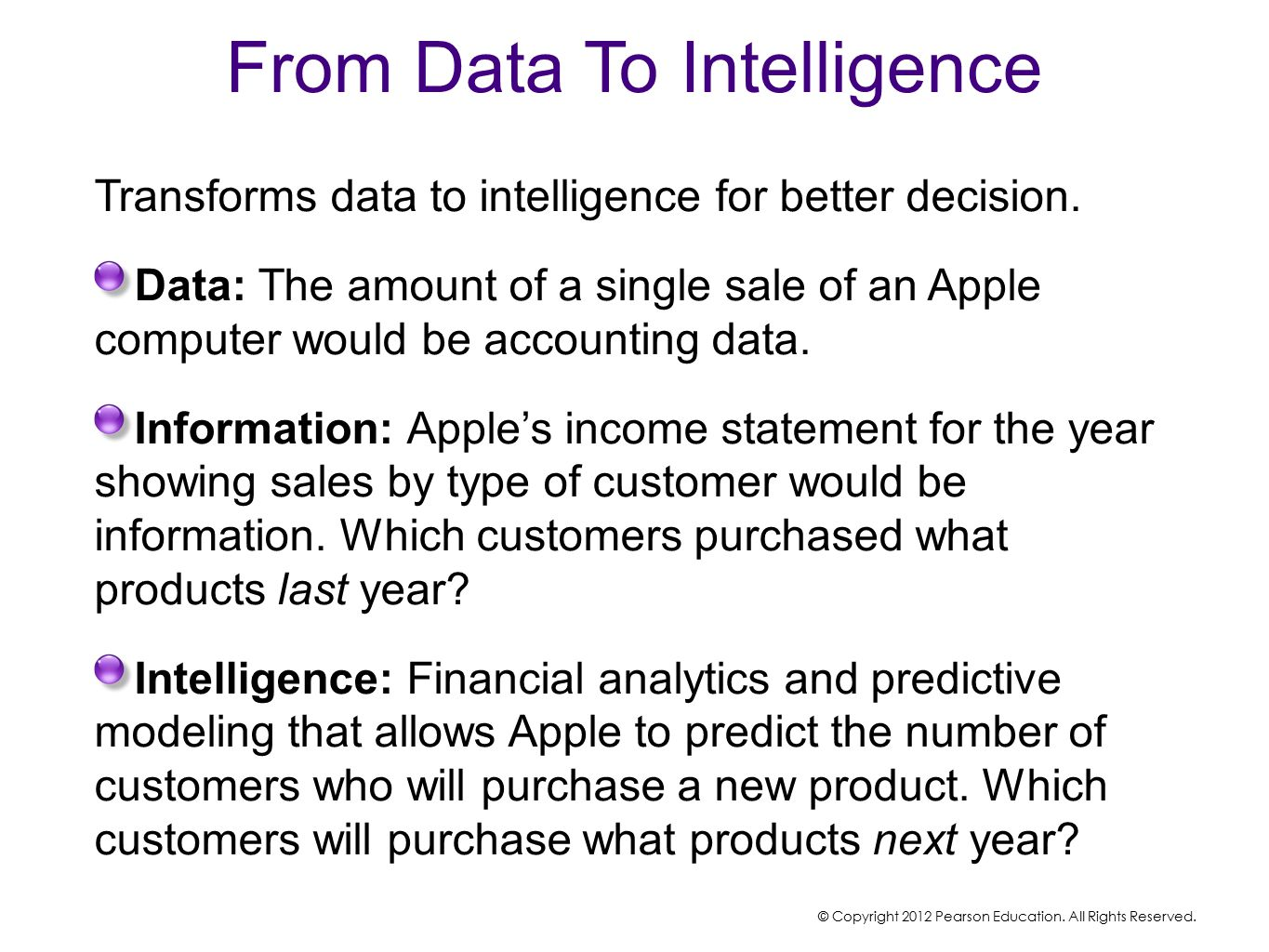 From Data To Intelligence Transforms data to intelligence for better decision.