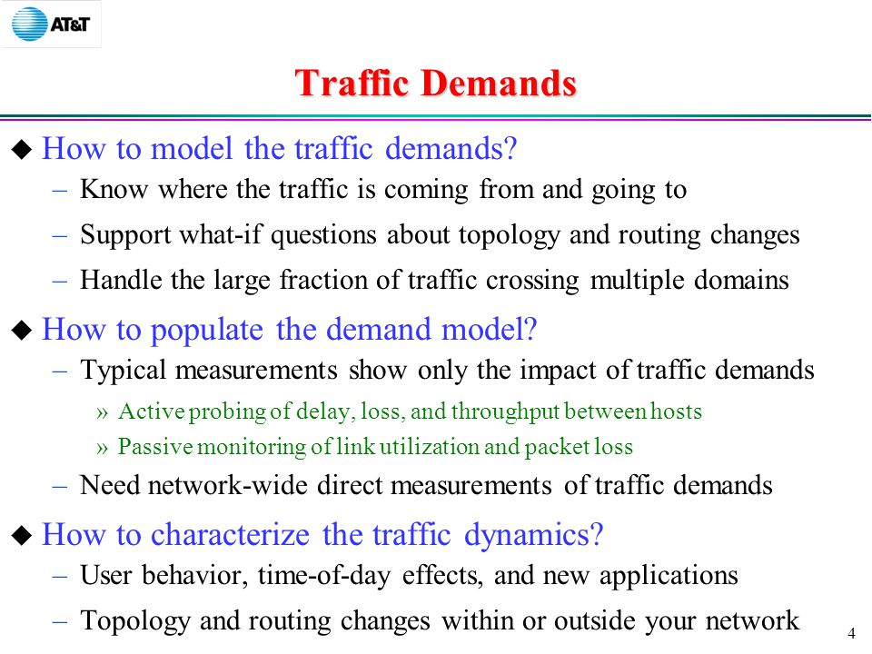 4 Traffic Demands  How to model the traffic demands.