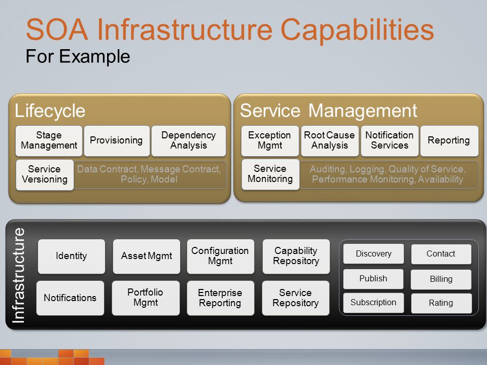 Lifecycle Infrastructure SOA Infrastructure Capabilities For Example Identity Notifications Asset Mgmt Portfolio Mgmt Configuration Mgmt Service Repository Enterprise Reporting Service Management Exception Mgmt Root Cause Analysis Notification Services Reporting Auditing, Logging, Quality of Service, Performance Monitoring, Availability Service Monitoring Capability Repository Discovery Contact Publish BillingSubscription Rating Stage Management Provisioning Dependency Analysis Data Contract, Message Contract, Policy, Model Service Versioning