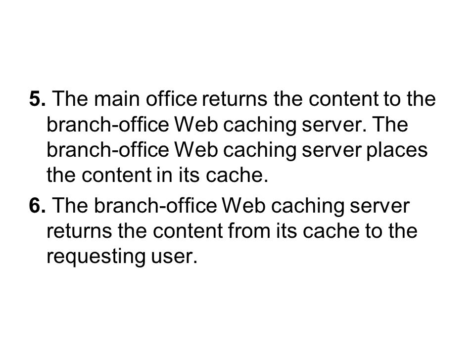 5. The main office returns the content to the branch-office Web caching server.