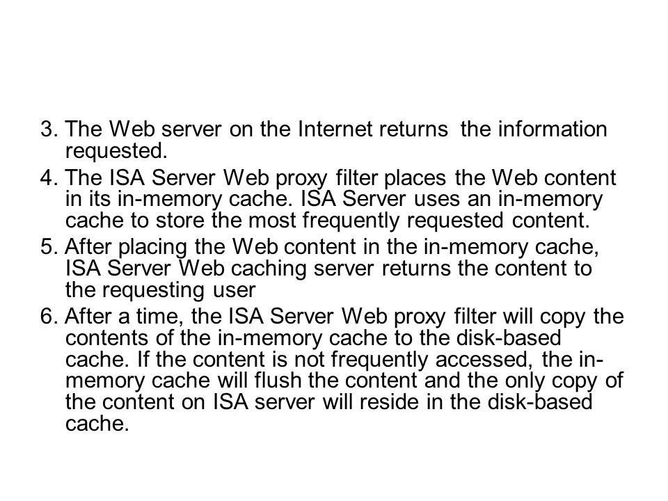 3. The Web server on the Internet returns the information requested.