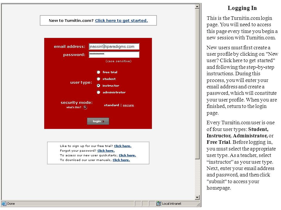 Logging In This is the Turnitin.com login page.