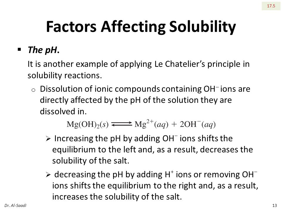 Factors Affecting Solubility  The pH.