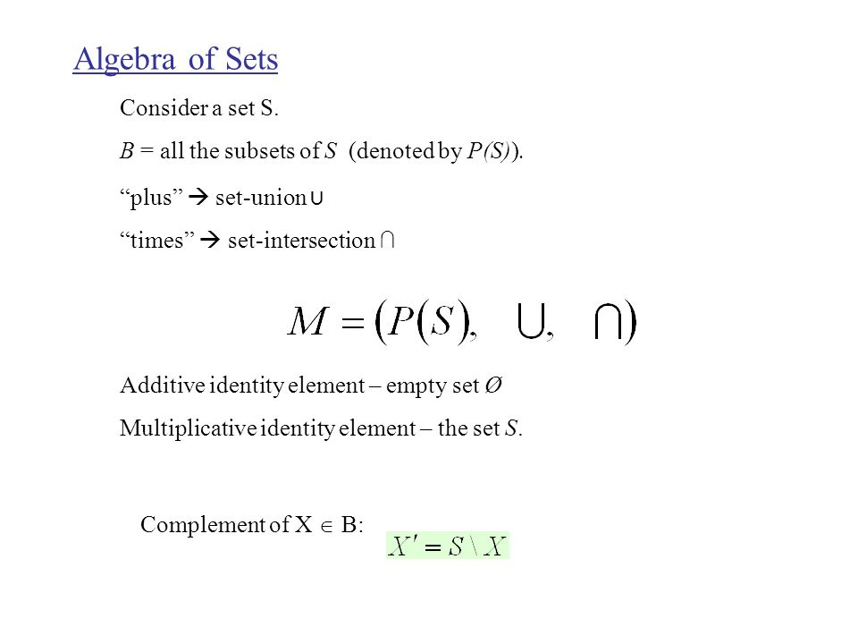 Algebra of Sets Consider a set S. B = all the subsets of S (denoted by P(S)).