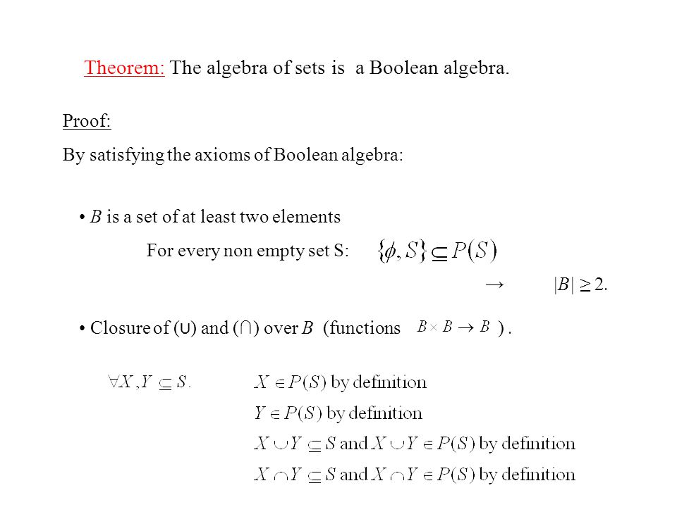 Theorem: The algebra of sets is a Boolean algebra.