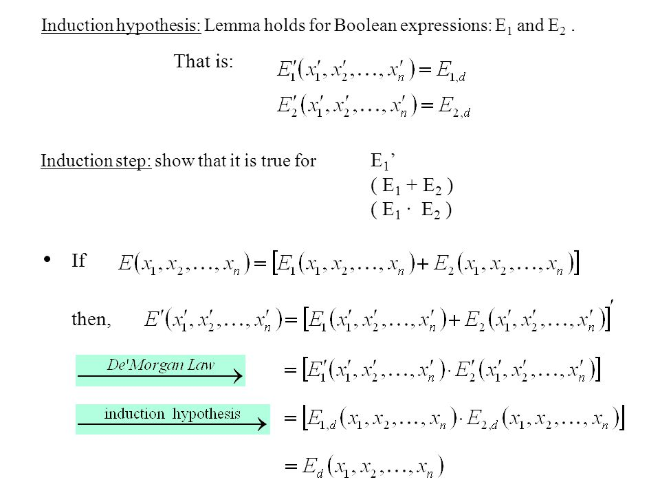 Induction hypothesis: Lemma holds for Boolean expressions: E 1 and E 2.