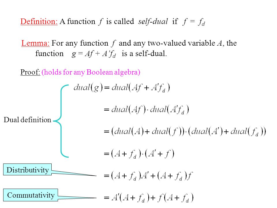 Definition: A function f is called self-dual if f = f d Lemma: For any function f and any two-valued variable A, the function g = Af + A'f d is a self-dual.