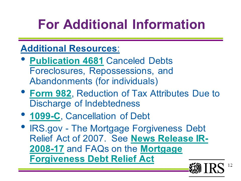 1 Mortgage Forgiveness Debt Relief Act Of What Is The Mortgage