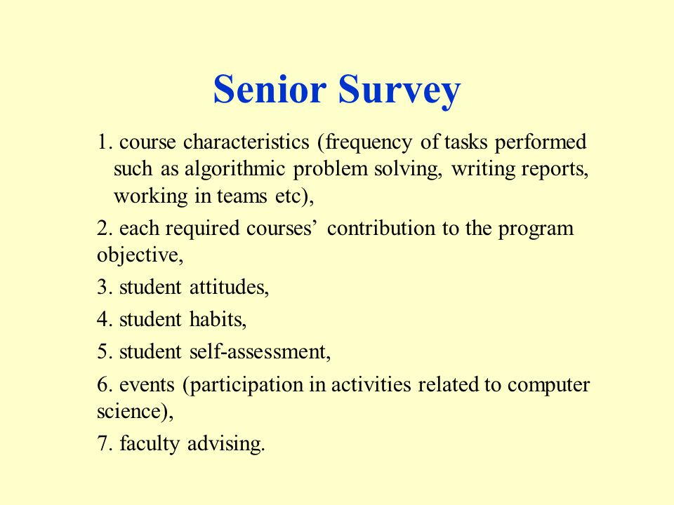 Senior Survey 1.