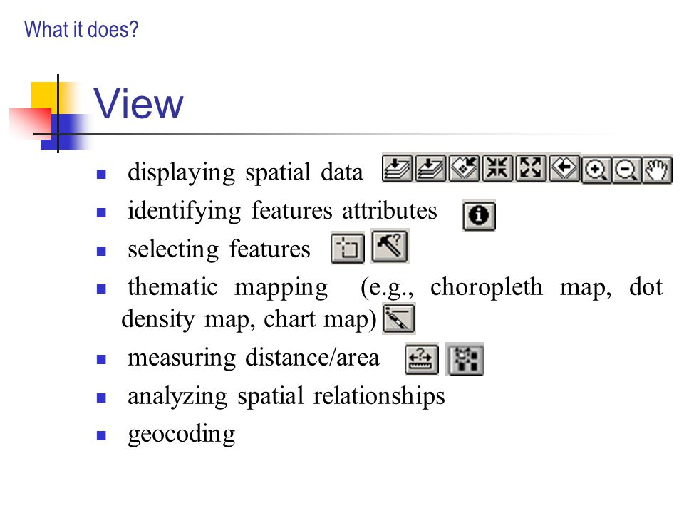 View displaying spatial data identifying features attributes selecting features thematic mapping (e.g., choropleth map, dot density map, chart map) measuring distance/area analyzing spatial relationships geocoding What it does