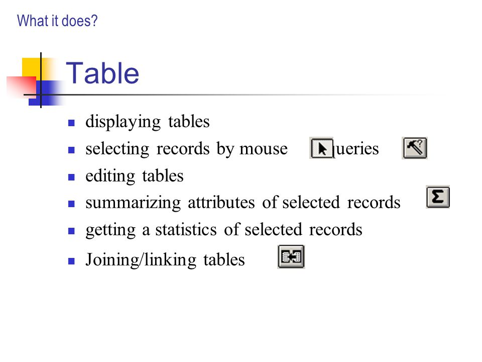 Table displaying tables selecting records by mouse /queries editing tables summarizing attributes of selected records getting a statistics of selected records Joining/linking tables What it does
