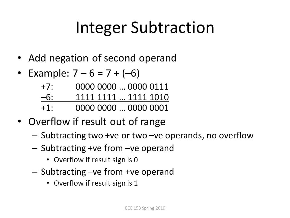 Integer Subtraction Add negation of second operand Example: 7 – 6 = 7 + (–6) +7: … –6: … : … Overflow if result out of range – Subtracting two +ve or two –ve operands, no overflow – Subtracting +ve from –ve operand Overflow if result sign is 0 – Subtracting –ve from +ve operand Overflow if result sign is 1 ECE 15B Spring 2010