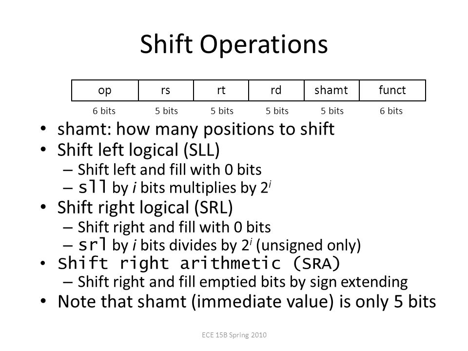 Shift Operations shamt: how many positions to shift Shift left logical (SLL) – Shift left and fill with 0 bits – sll by i bits multiplies by 2 i Shift right logical (SRL) – Shift right and fill with 0 bits – srl by i bits divides by 2 i (unsigned only) Shift right arithmetic (SRA) – Shift right and fill emptied bits by sign extending Note that shamt (immediate value) is only 5 bits oprsrtrdshamtfunct 6 bits 5 bits ECE 15B Spring 2010