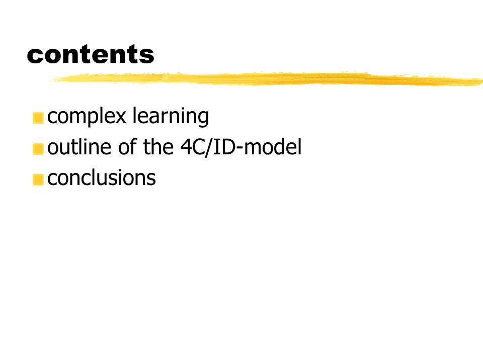 contents complex learning outline of the 4C/ID-model conclusions