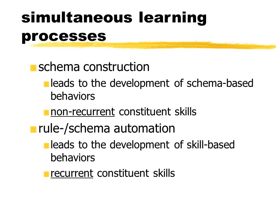 simultaneous learning processes schema construction leads to the development of schema-based behaviors non-recurrent constituent skills rule-/schema automation leads to the development of skill-based behaviors recurrent constituent skills