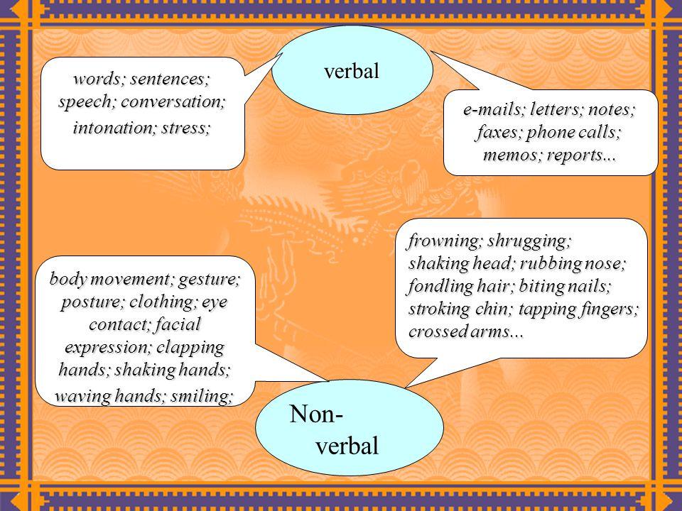 verbal words; sentences; speech; conversation; intonation; stress; e-mails; letters; notes; faxes; phone calls; memos; reports...