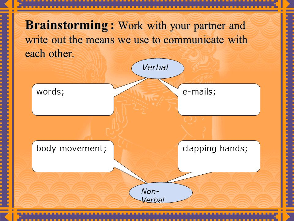 Brainstorming : Work with your partner and write out the means we use to communicate with each other.