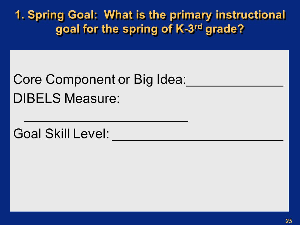 25 1. Spring Goal: What is the primary instructional goal for the spring of K-3 rd grade.