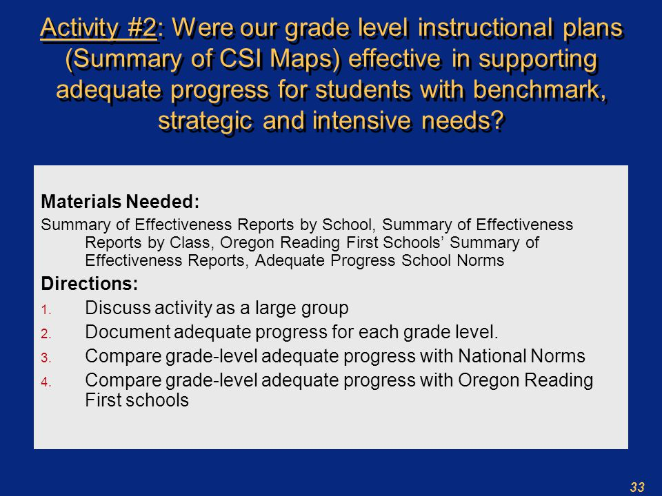 33 Activity #2: Were our grade level instructional plans (Summary of CSI Maps) effective in supporting adequate progress for students with benchmark, strategic and intensive needs.