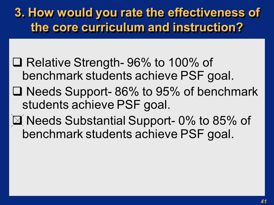 41 3. How would you rate the effectiveness of the core curriculum and instruction.