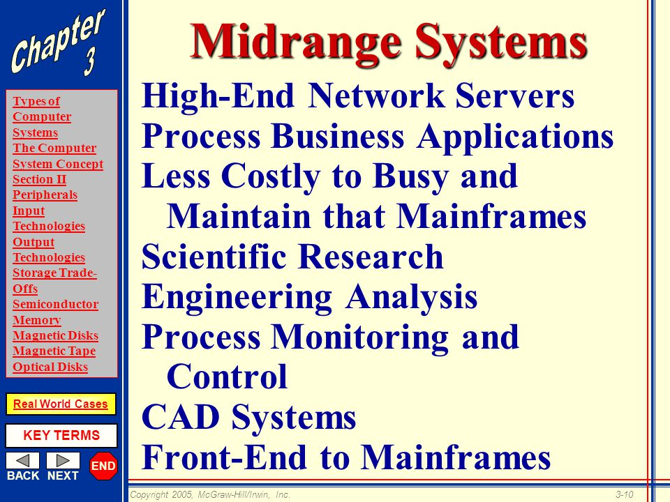 END BACKNEXT Types of Computer Systems The Computer System Concept Section II Peripherals Input Technologies Output Technologies Storage Trade- Offs Semiconductor Memory Magnetic Disks Magnetic Tape Optical Disks KEY TERMS Copyright 2005, McGraw-Hill/Irwin, Inc.3-10 Real World Cases Midrange Systems High-End Network Servers Process Business Applications Less Costly to Busy and Maintain that Mainframes Scientific Research Engineering Analysis Process Monitoring and Control CAD Systems Front-End to Mainframes