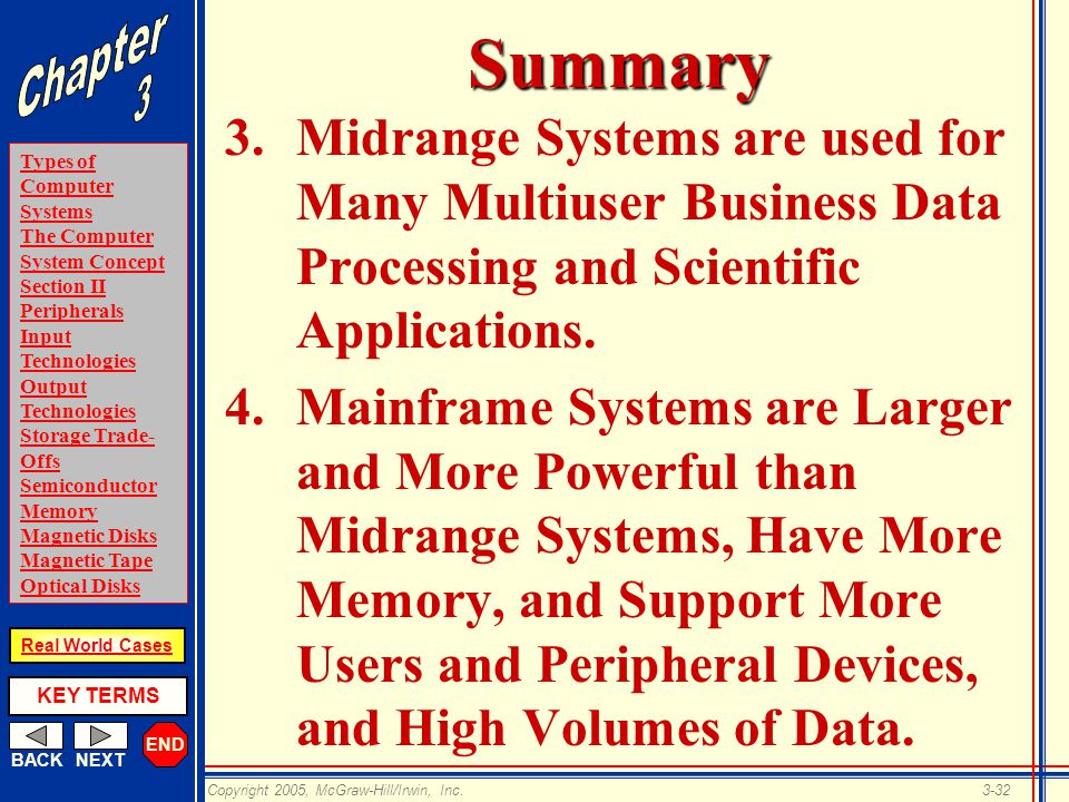 END BACKNEXT Types of Computer Systems The Computer System Concept Section II Peripherals Input Technologies Output Technologies Storage Trade- Offs Semiconductor Memory Magnetic Disks Magnetic Tape Optical Disks KEY TERMS Copyright 2005, McGraw-Hill/Irwin, Inc.3-32 Real World CasesSummary 3.Midrange Systems are used for Many Multiuser Business Data Processing and Scientific Applications.