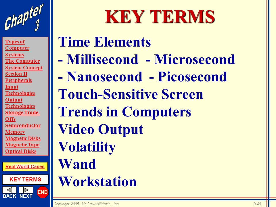 END BACKNEXT Types of Computer Systems The Computer System Concept Section II Peripherals Input Technologies Output Technologies Storage Trade- Offs Semiconductor Memory Magnetic Disks Magnetic Tape Optical Disks KEY TERMS Copyright 2005, McGraw-Hill/Irwin, Inc.3-40 Real World Cases KEY TERMS Time Elements - Millisecond - Microsecond - Nanosecond - Picosecond Touch-Sensitive Screen Trends in Computers Video Output Volatility Wand Workstation