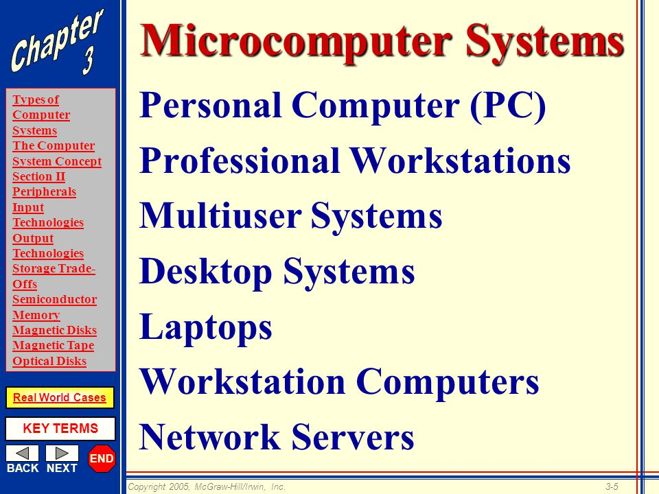 END BACKNEXT Types of Computer Systems The Computer System Concept Section II Peripherals Input Technologies Output Technologies Storage Trade- Offs Semiconductor Memory Magnetic Disks Magnetic Tape Optical Disks KEY TERMS Copyright 2005, McGraw-Hill/Irwin, Inc.3-5 Real World Cases Microcomputer Systems Personal Computer (PC) Professional Workstations Multiuser Systems Desktop Systems Laptops Workstation Computers Network Servers