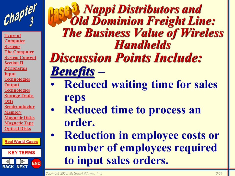 END BACKNEXT Types of Computer Systems The Computer System Concept Section II Peripherals Input Technologies Output Technologies Storage Trade- Offs Semiconductor Memory Magnetic Disks Magnetic Tape Optical Disks KEY TERMS Copyright 2005, McGraw-Hill/Irwin, Inc.3-64 Real World Cases Nappi Distributors and Old Dominion Freight Line: The Business Value of Wireless Handhelds Benefits – Reduced waiting time for sales reps Reduced time to process an order.