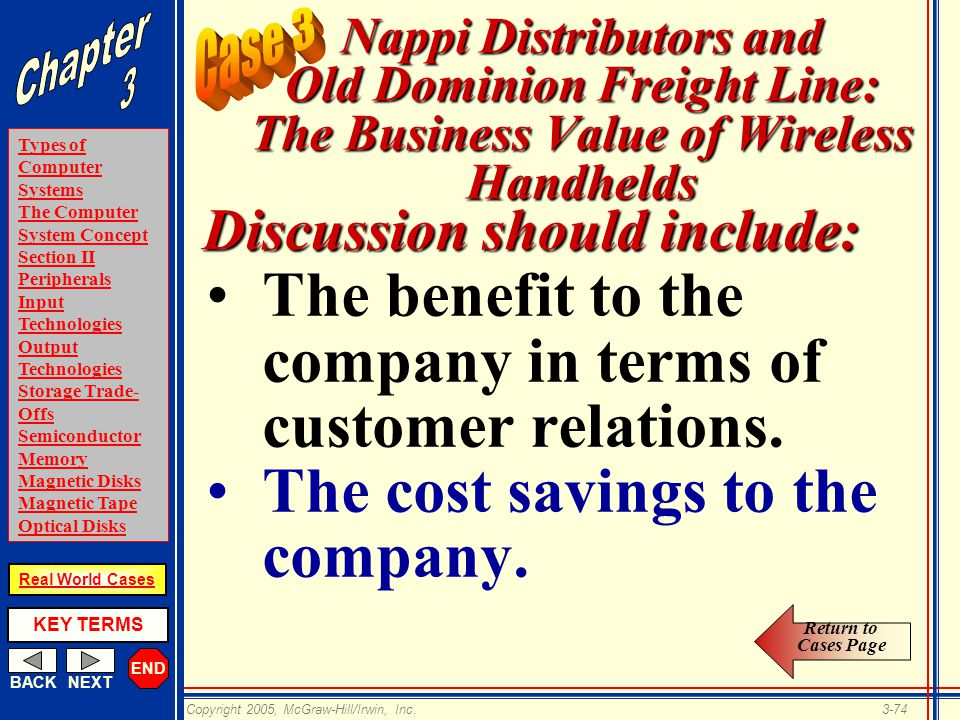 END BACKNEXT Types of Computer Systems The Computer System Concept Section II Peripherals Input Technologies Output Technologies Storage Trade- Offs Semiconductor Memory Magnetic Disks Magnetic Tape Optical Disks KEY TERMS Copyright 2005, McGraw-Hill/Irwin, Inc.3-74 Real World Cases Nappi Distributors and Old Dominion Freight Line: The Business Value of Wireless Handhelds The benefit to the company in terms of customer relations.