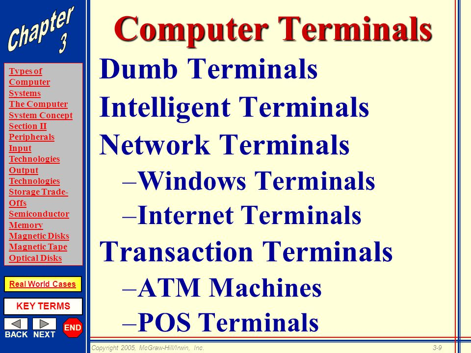 END BACKNEXT Types of Computer Systems The Computer System Concept Section II Peripherals Input Technologies Output Technologies Storage Trade- Offs Semiconductor Memory Magnetic Disks Magnetic Tape Optical Disks KEY TERMS Copyright 2005, McGraw-Hill/Irwin, Inc.3-9 Real World Cases Computer Terminals Dumb Terminals Intelligent Terminals Network Terminals –Windows Terminals –Internet Terminals Transaction Terminals –ATM Machines –POS Terminals