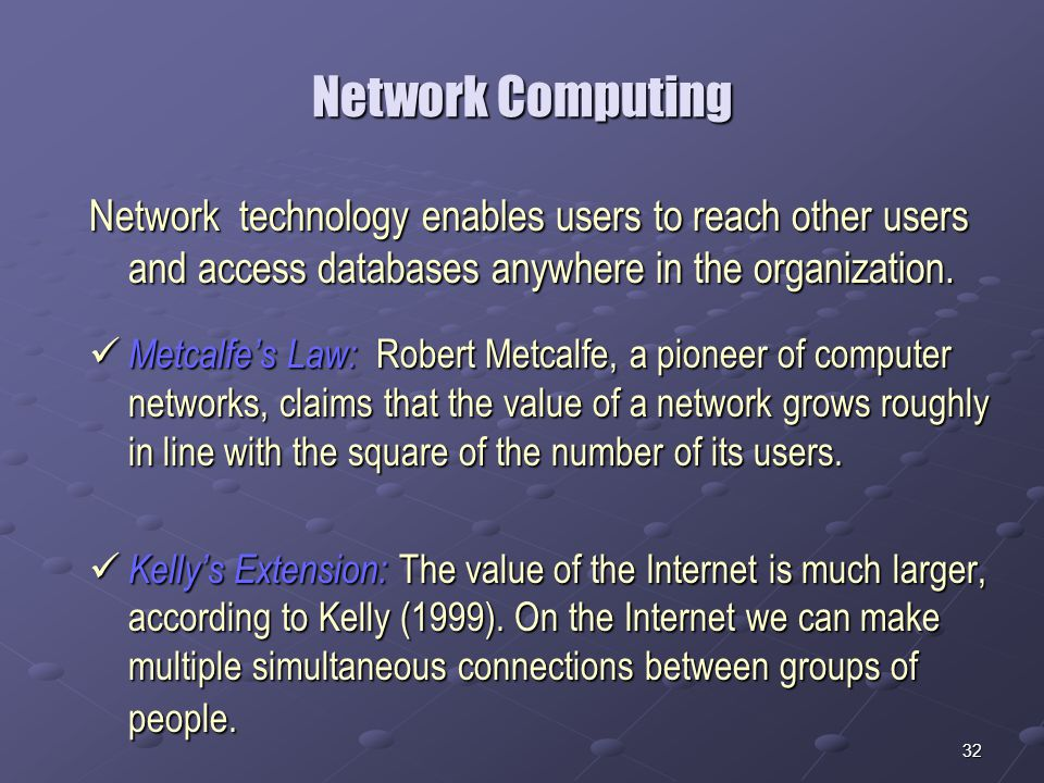 32 Network Computing Network technology enables users to reach other users and access databases anywhere in the organization.