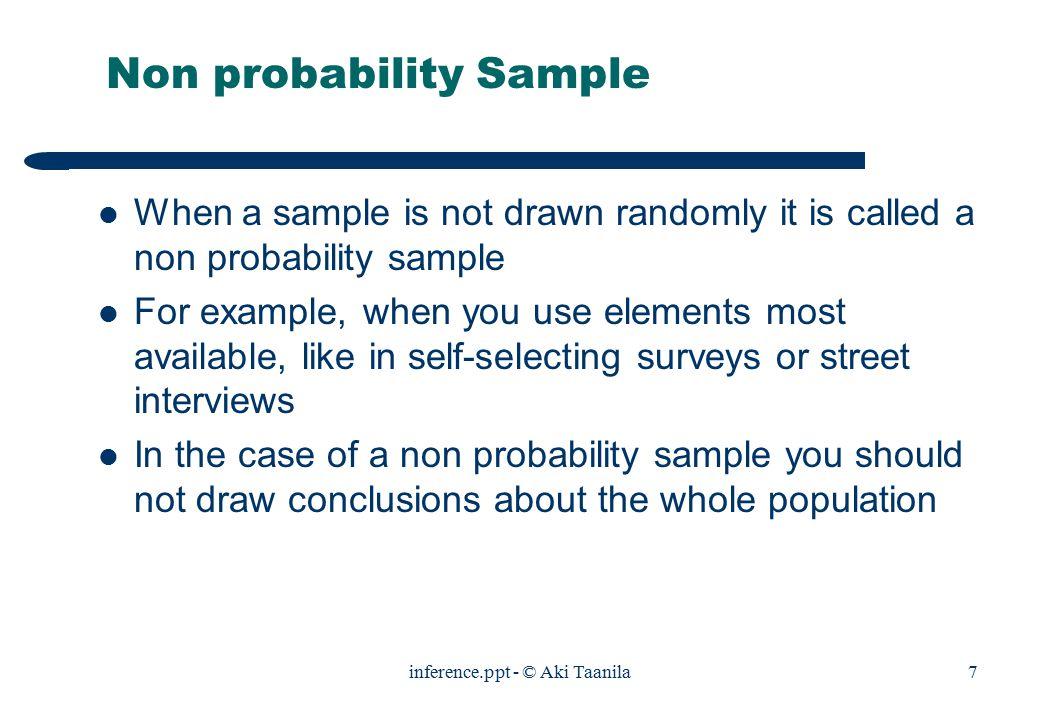 Inference.ppt - © Aki Taanila1 Sampling Probability sample Non ...