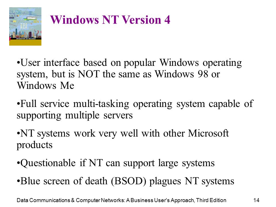 Data Communications & Computer Networks: A Business User s Approach, Third Edition14 Windows NT Version 4 User interface based on popular Windows operating system, but is NOT the same as Windows 98 or Windows Me Full service multi-tasking operating system capable of supporting multiple servers NT systems work very well with other Microsoft products Questionable if NT can support large systems Blue screen of death (BSOD) plagues NT systems