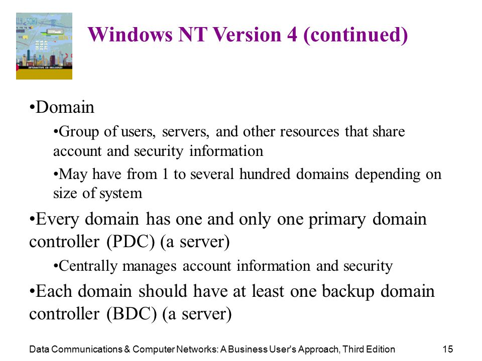 Data Communications & Computer Networks: A Business User s Approach, Third Edition15 Windows NT Version 4 (continued) Domain Group of users, servers, and other resources that share account and security information May have from 1 to several hundred domains depending on size of system Every domain has one and only one primary domain controller (PDC) (a server) Centrally manages account information and security Each domain should have at least one backup domain controller (BDC) (a server)