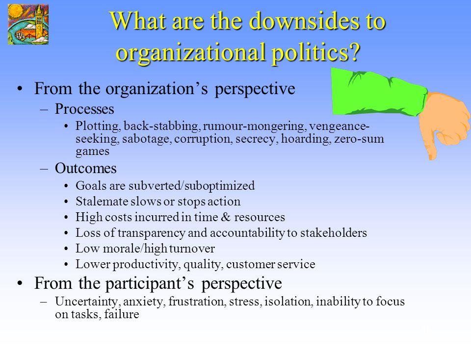 politics in organisation Political behavior in organizations, the first true textbook on organizational politics, blends research, theory, experience, and skill-building into a comprehensive yet concise guide to the effective use of organizational politics.