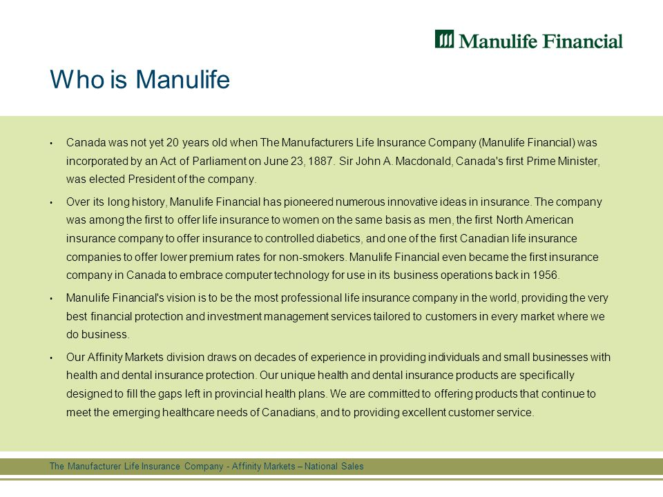 Manulife Life Insurance Quote Delectable F O O T E R The Manufacturer Life Insurance Company  Affinity