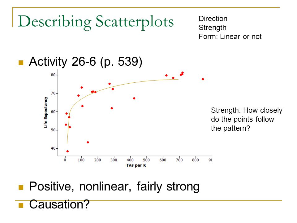 Describing Scatterplots Activity 26-6 (p. 539) Positive, nonlinear, fairly strong Causation.
