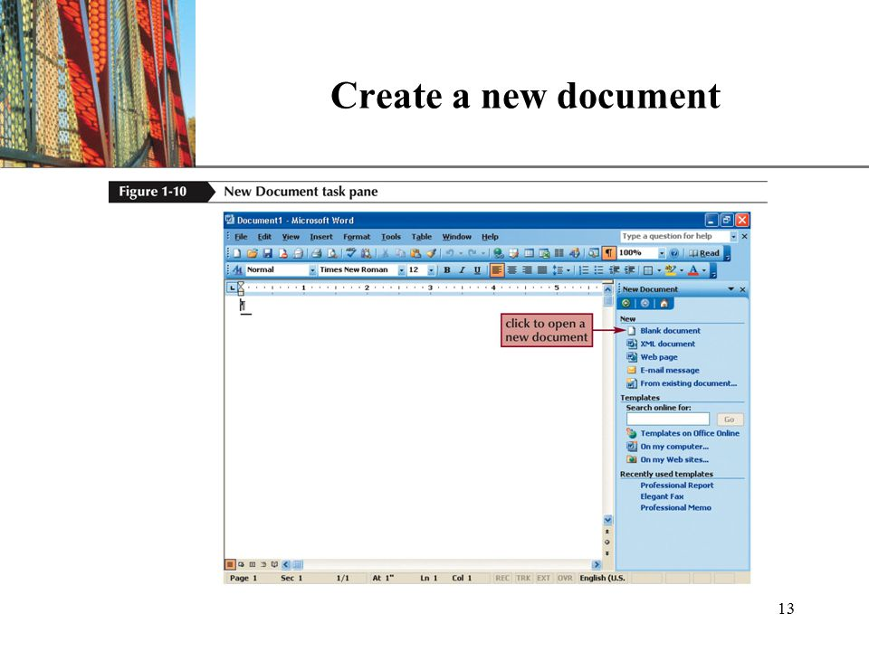 XP 13 Create a new document