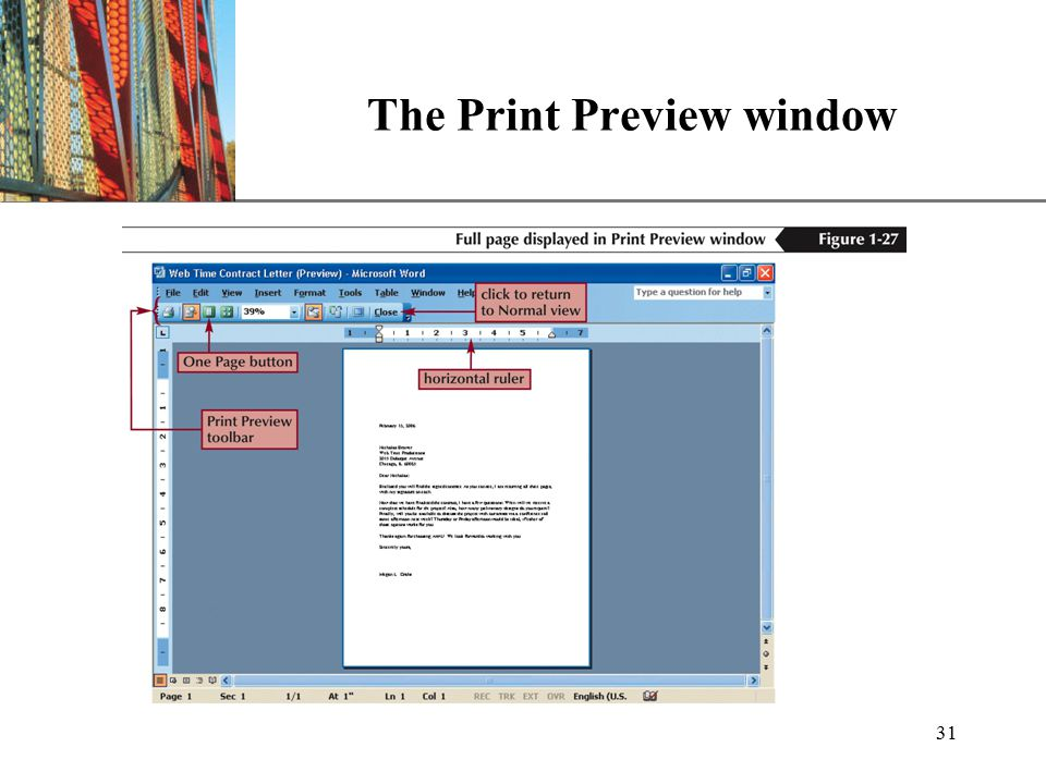 XP 31 The Print Preview window