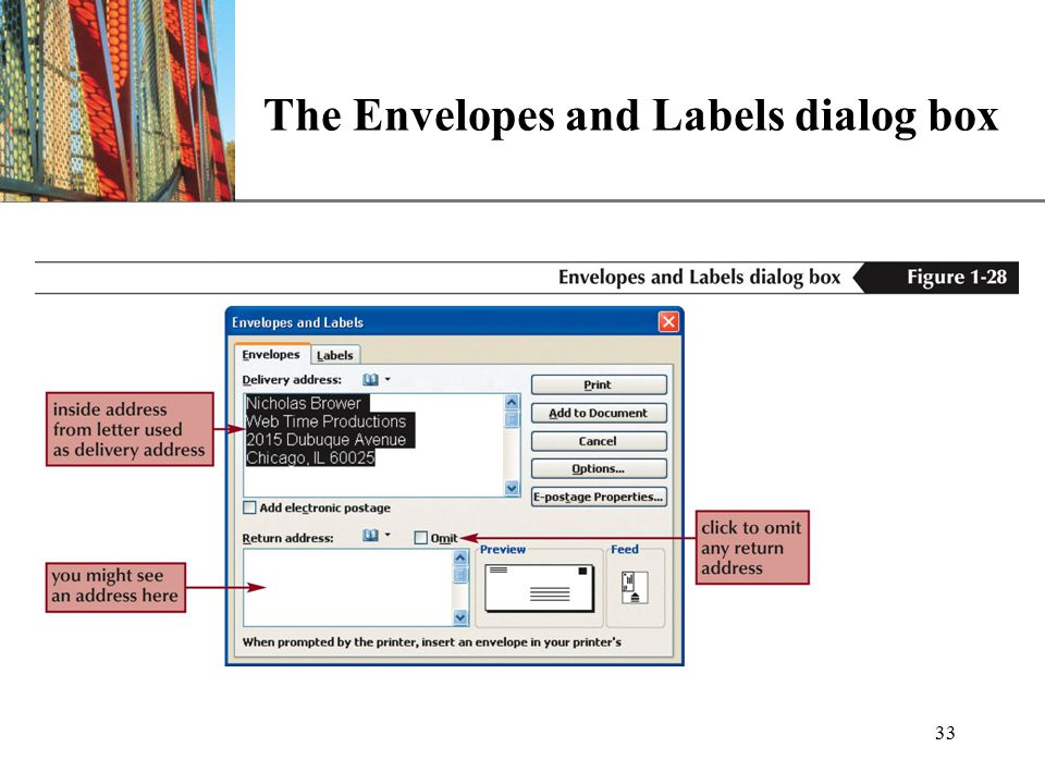 XP 33 The Envelopes and Labels dialog box