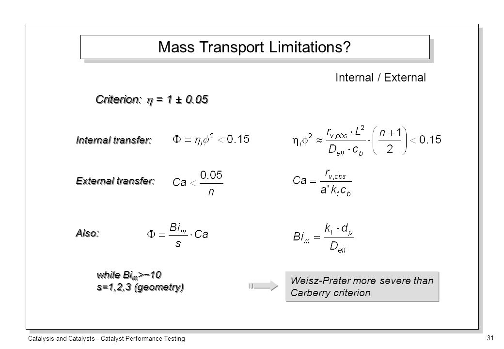Catalysis and Catalysts - Catalyst Performance Testing 31 Criterion:  = 1 ± 0.05 External transfer: Internal transfer: Also: while Bi m >~10 s=1,2,3 (geometry) while Bi m >~10 s=1,2,3 (geometry) Weisz-Prater more severe than Carberry criterion Mass Transport Limitations.