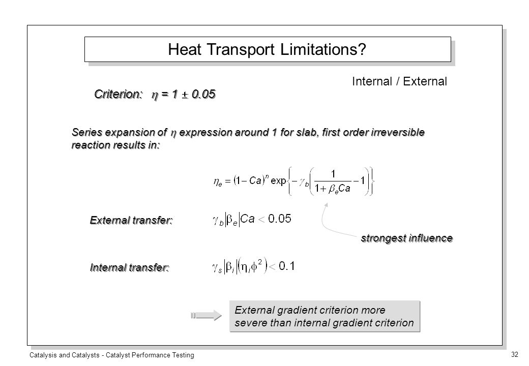 Catalysis and Catalysts - Catalyst Performance Testing 32 Criterion:  = 1  0.05 External transfer: Internal transfer: Series expansion of  expression around 1 for slab, first order irreversible reaction results in: strongest influence External gradient criterion more severe than internal gradient criterion Heat Transport Limitations.